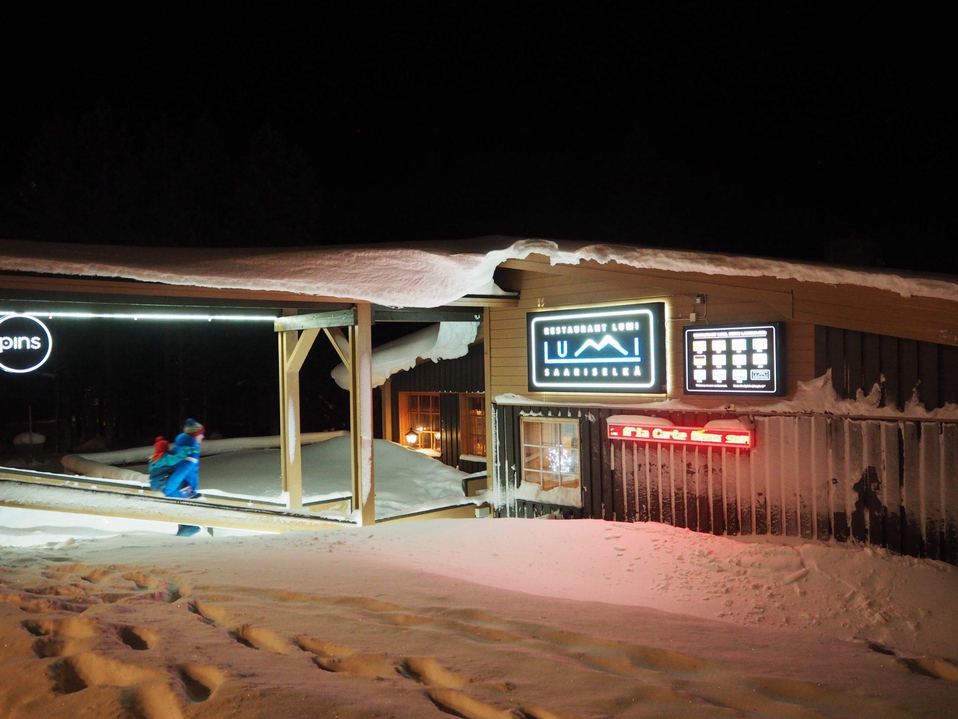 saariselka lumi ravintolassa lasten mukana